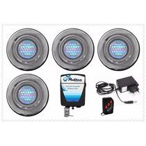 Kit Iluminação Para Piscina 4 Refletores 25 Leds + Comando