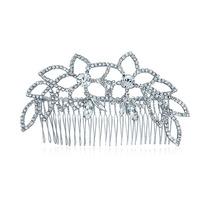 Tiara Peine Nupcial En Cristal Con Forma De Hojas Estilo Pri