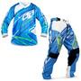 Kit Roupa Motocross Pro Tork Insane 3 Azul Camisa M Calça 42