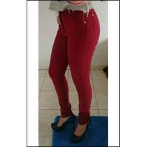 Calça Color Jeans Feminina Com Lycra Cintura Alta Hot Pant