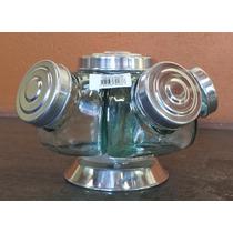 Baleiro De Vidro Giratório Mini 05 Potes Tampa Alumínio