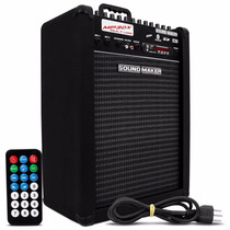 Caixa Som Amplificada Sound Maker Microfone Baixo Violão