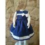 Vestido Infantil Festa Casamento Luxo Tafetá Azul Marinho