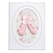 Quadrinho Decorativo Quarto Bebê Sapatilha De Bailarina Rosa