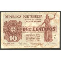 Billete Portugal 10 Centavos 1917 1925 P 101 B/mb