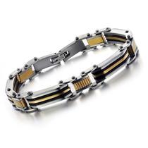 Bracelete Masculino Aço Inox 316l Banhado Ouro Amarelo 18k