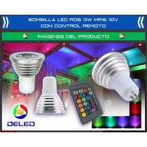 Bombilla Deled Rgb 3w Mr16 110v Multicolor Control Remoto