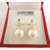 Aros Lady Di Plata Y Oro Cúbics Y Perla Preciosos!!!