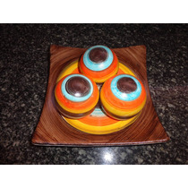 Prato Decorativo De Cerâmica Com 3 Bolas Linda Peças