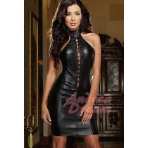 Vestido Sensual Gótico Em Cirrê Cor Preto Fosco Lindo