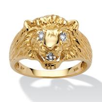 Anillo Cabeza León Oro 10k C/acento Diamante Hombre Talla 10