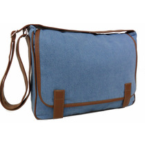 Bolsa Carteiro Pasta Tiracolo Jeans+couro Sint Masculino/fem