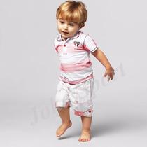 Conjunto São Paulo Infantil Camisa Polo E Bermuda Oficial