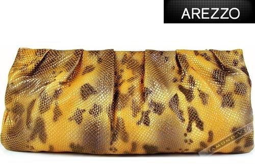 Bolsa De Couro Legitimo Arezzo : Bolsa arezzo clutch amarela marrom m?o couro leg?timo nova