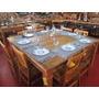 Mesa Madeira Maciça De Demolição 1,50x1,50m + 8 Cadeiras