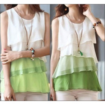 Oix Closet Top Blusa De Gasa Color Blanco/verde Verano