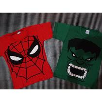 Kit 2 Camisetas Infantil De Super Heróis - Oferta Relampago