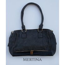 Cartera Simil Cuero Dark Grey | Mertina