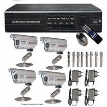 Kit Dvr Stand Alone 8 Canais H264 + 4 Câmera Infra 36 Leds