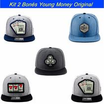 Kit 2 Bonés Aba Reta Snapback Young Money Modelos Originais