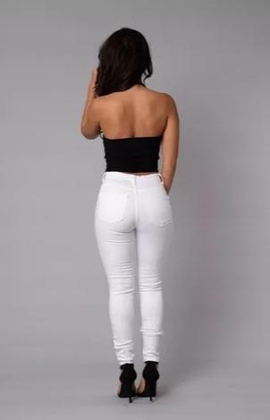 Pantalón Jeans Chupin Elastizado Blanco Tiro Alto -   990 0ffd6596d3df