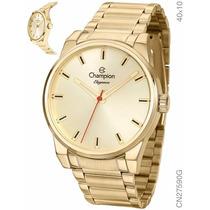 Relógio Champion Banhado A Ouro 18k Cn27590g - Original + Nf