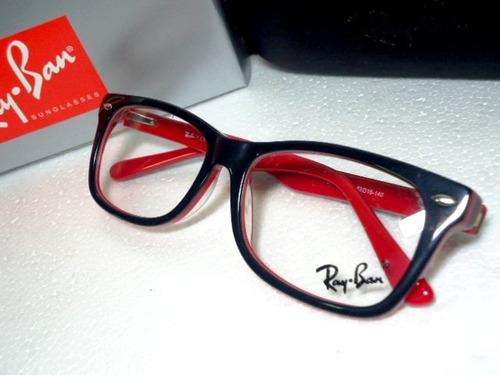 Armação Oculos Grau Rb5228 Wayfarer Preto E Vermelho Ray Ban - R  97 ... 767b693f70