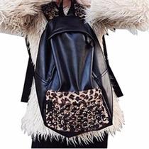 Mochila Escolar Moda Animal Print Leopardo Y Piel Sintética