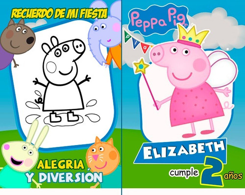 Libros Para Colorear Peppa Pig Y George Cotillon Medianos Bs 14