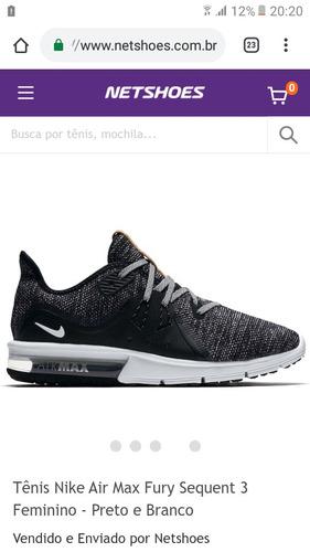 2948a972aa Tênis Nike Air Maxmax Fury Sequent 3 Feminino Preto E Branco - R  200