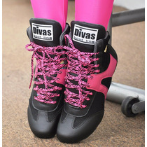 Bota Treino Cano Curto Divas Preta/rosa Academia Fitness