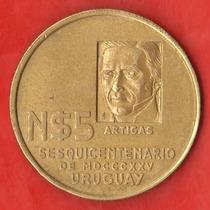 Uruguay Enormes 5 Nuevos Pesos 1975 - Conm. Sesquicentenario