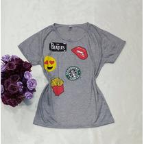 T-shirt Feminina Estampada Semelhante Patches Cinza Listrada