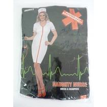 Traje De Enfermera - Grande Con El Sombrero Uk 16-18 Mujeres