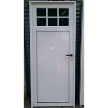 Puerta Aluminio Blanco 1/4 Vidrio Repartido Con Vidrios