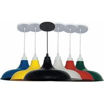 Pendente Prato Colorido Moderno Lustre Luminária De Mesa