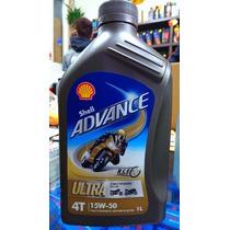 Aceite Sintetico Moto Shell Advance Ultra 4t 15w 50 1 Litro.