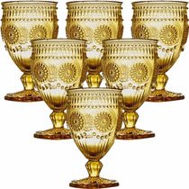 Jogo 6 Taças Aubusson Copo Vidro Ambar 270ml P/ Vinho Água