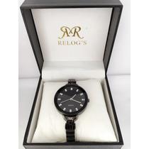 Relógio Feminino Preto De Luxo Pronta Entrega