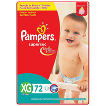 Fralda Pampers Supersec Jumbo Xg 72 Unidades