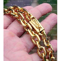 Corrente Cordão Grosso Banhado A Ouro Com 11mm Fecho Gaveta