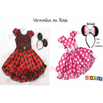 Vestido Da Minnie Fantasia Festa Minie Vermelha Ou Rosa Inf