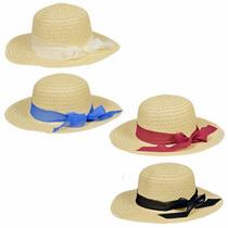 Sombreros Playeros Estilo Pamela, Beige Con Cintas De Color