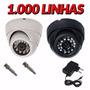 Kit 5 Camera Dome Ccd Infra Vermelho 24 Led 20mt 3,6mm