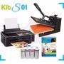 Kit Sublimação Prensa Plana P Estampar 38x38 + Impressora A4