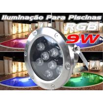 Lampada P Piscina Refletor Led Rgb 9w Subaquático Chafariz
