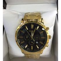 Relógio Tissot Preto Dourado 1853 Prc Todo Funcional Sedex !