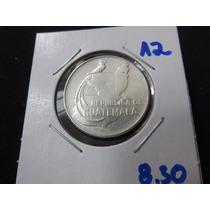 Moneda Plata 25 Centavos Guatemala 1943 Palacio