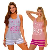 Pijama Verano Short Con Musculosa Lencatex