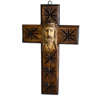 Cruz D Madera Con Rostro D Jesus Tallada A Mano